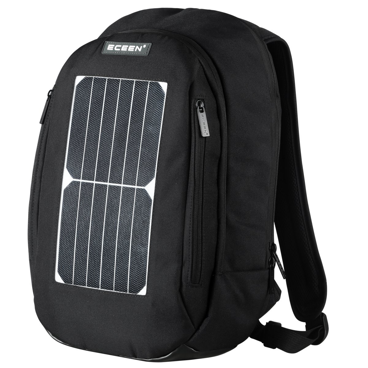 Laptop Backpack with 7W Waterproof Solar Panel Charger + 2000mAH Rechargeable Battery Pack for Phones / Holds Laptops, Macbooks and Tablets up to 14'' (Black) by ECEEN
