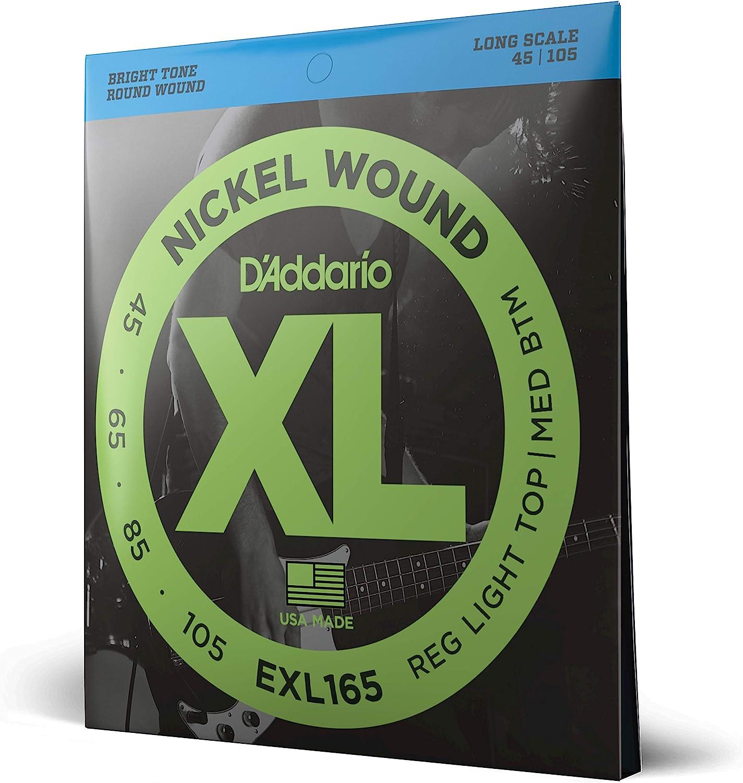 D'Addario EXL165 - Juego de cuerdas para bajo eléctrico de níquel.045 - .105