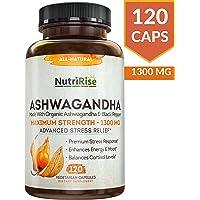 Ashwagandha 1300mg fabricado con polvo de raíz de Ashwagandha orgánico y extracto de pimienta negra – 120 cápsulas. Suplemento 100% puro Ashwagandha para alivio del estrés, antiansiedad y suprarrenal, humor y soporte tiroideo.