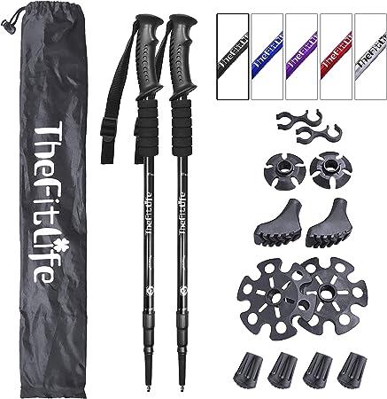 Non-slip Grip Staff LOCGFF Folding Walking Sticks for Women Short Automatic 16inch Hill Trekking Hiking Stick Black Hiking Poles