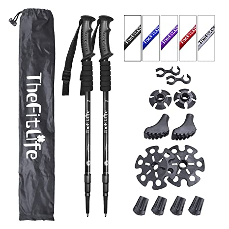 9beddef36 TheFitLife Nordic Walking Trekking Poles - 2 Pack with Antishock and Quick  Lock System