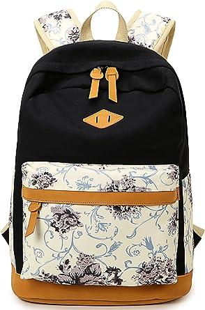 Nylon Floral Ladies Girls School Backpack Shoulder Laptop Bag Travel Rucksack