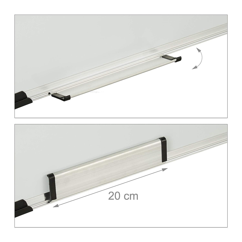 Magnetica HxL: 60 x 90 cm plastica Cancellino e Pennarello Alluminio 60 x 90 x 1,5 cm per i Meetings e Seminari Relaxdays Lavagnetta Bianca