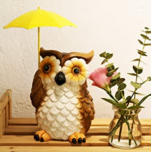 E.SUN CRAFT Owl Statue-Resin Animal Figurine with Umbrella Garden Statue Decorative Statue Accents Yard Patio Lawn Decor