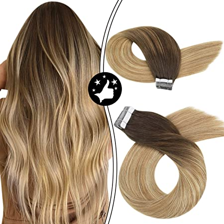 Image ofMoresoo 14 Pulgadas Extensiones de Cabello Natural Adhesivas Color #4 Marrón Fading to #6 and #24 Rubio Claro 100% Real Remy Human Hair Tape in Human Hair Extensions Straight 20pcs 50g