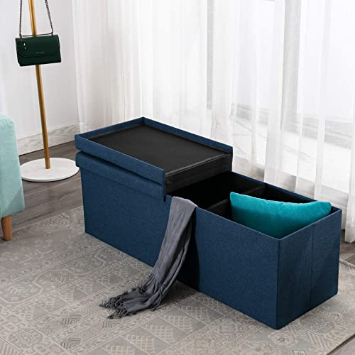 ANJ Storage Ottoman Bench, Padded Chest with Flipping Lid Folding Seat Footrest Blue