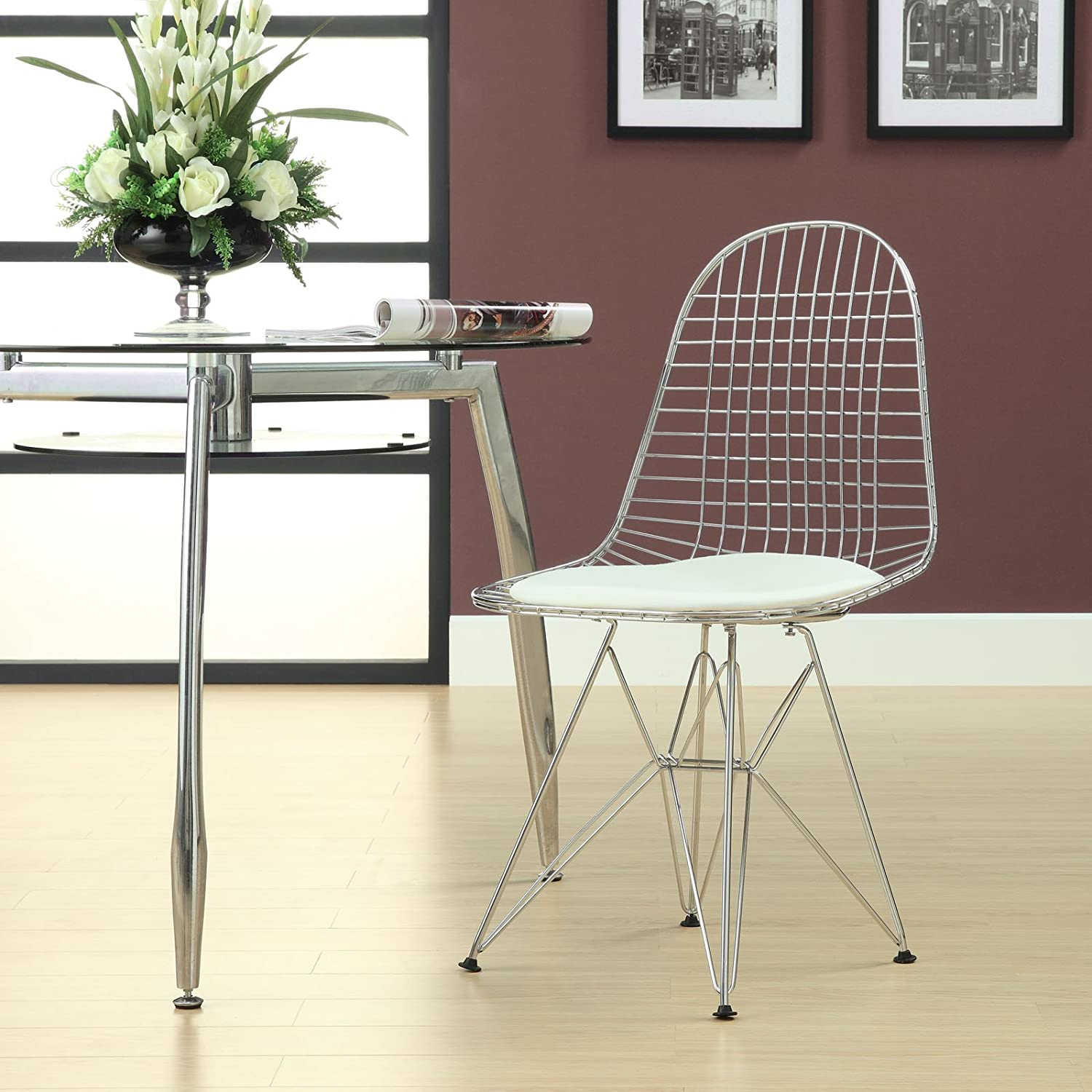 Amazon.com - Modway Wire Tower Side Chair with White Vinyl Cushion ...