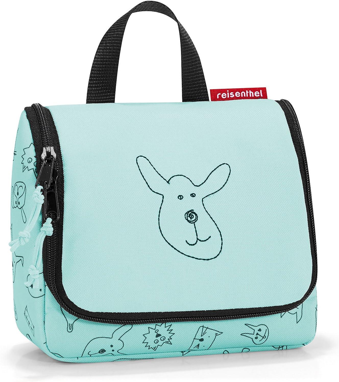 Reisenthel Toiletbag S Kids, Bolsa de aseo para Unisex-Niños, Verde (Cats And Dogs Mint), 18.5 x 16 x 7 cm