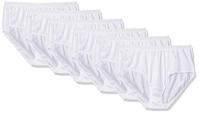 1855a0cea32b5c Fruit of the Loom Women's 6 Pack Nylon White Brief at Amazon Women's  Clothing store: