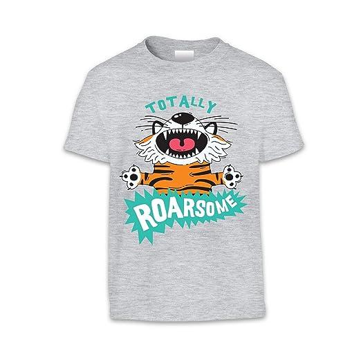 The T-Shirt Factory - Camiseta Infantil con Tigre y Mensaje Totally Roarsome (3/4 Años/Blanco): Amazon.es: Ropa y accesorios