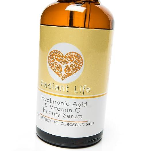 Ácido hialurónico Radiant Life, serum para la piel con vitamina C, lo mejor para la cara, el rejuvenecimiento, más tersura y brillo en la piel, ...
