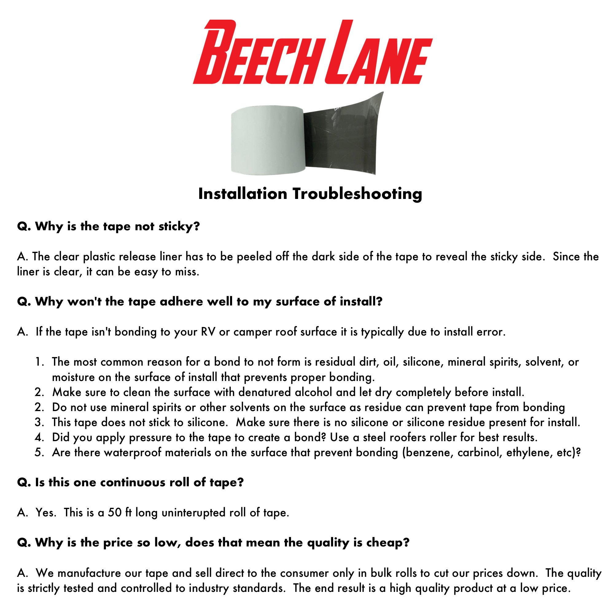 Beech Lane RV White Roof Sealant Tape 4'' x 50', Permanently Stops Camper  Roof Leaks, Installation, UV and Weatherproof Sealant