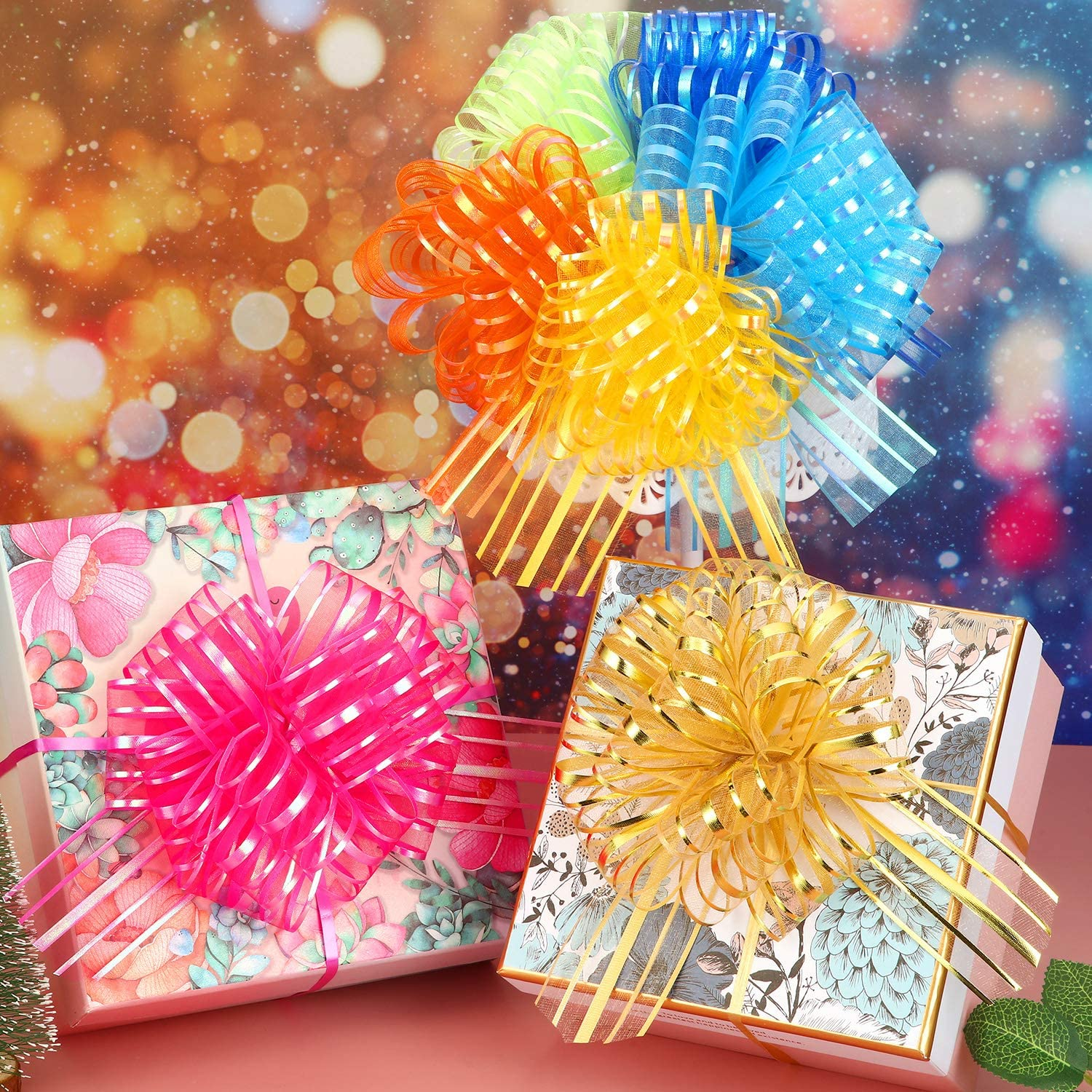 6 Inches Diameter Pull Bow Large Organza Pull Bow Gift Wrapping Pull Bow with Ribbon for Wedding Gift Baskets Mixed Color, 12 Pieces