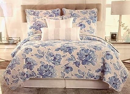 Amazon Nicole Miller Blue Floral Quilt Set Fullqueen Size