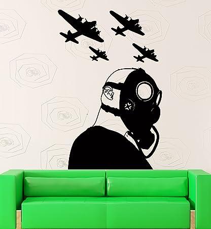 Pegatina de Pared Vinilo Adhesivo decoración de Guerra Militar con aviones y máscara de gas (