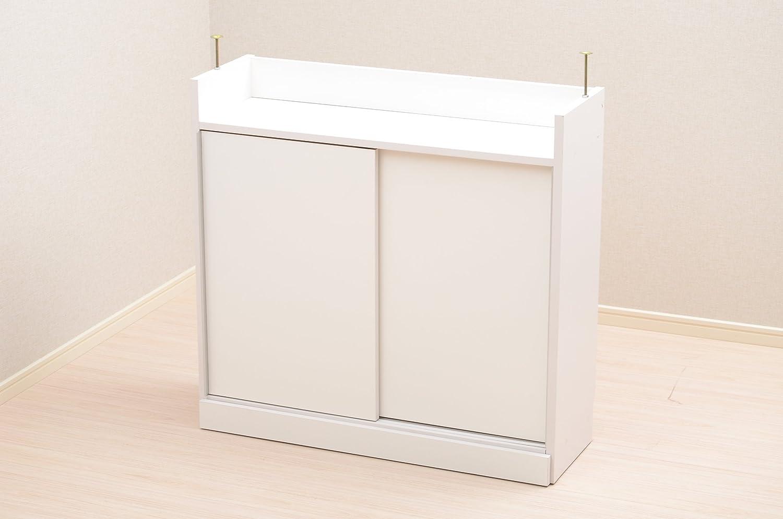 キッチンカウンター下収納 【PREGO-プレゴ-】 (引き戸タイプ 幅90)(ホワイト) B00A365SJ4 ホワイト ホワイト