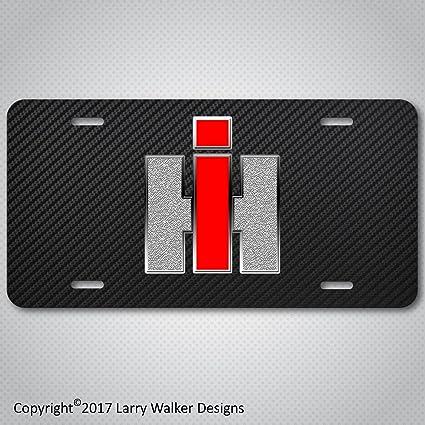 International Harvester Logo >> International Harvester Ih Logo Aluminum License Plate Tag Carbon Fiber Look