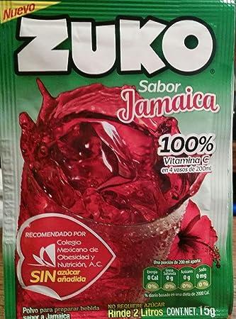Zuko Jamaica (Hibiscus) Drink Mix, Packets Make 2 Liters (Pack of 12