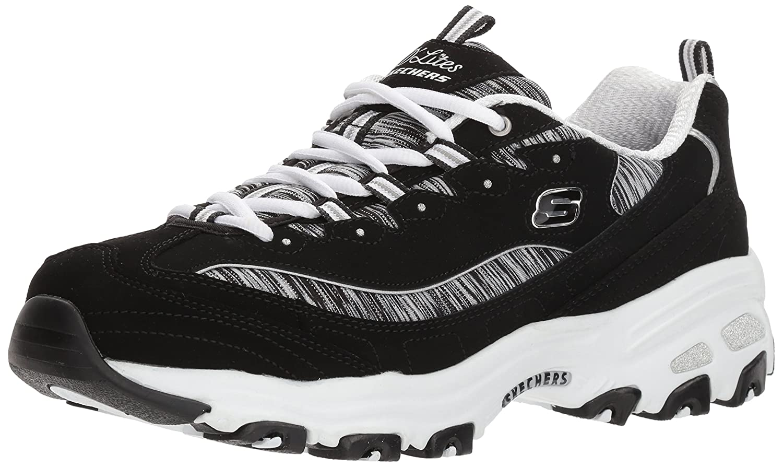 Black white Skechers Women's D'Lites - Interlude Sneakers