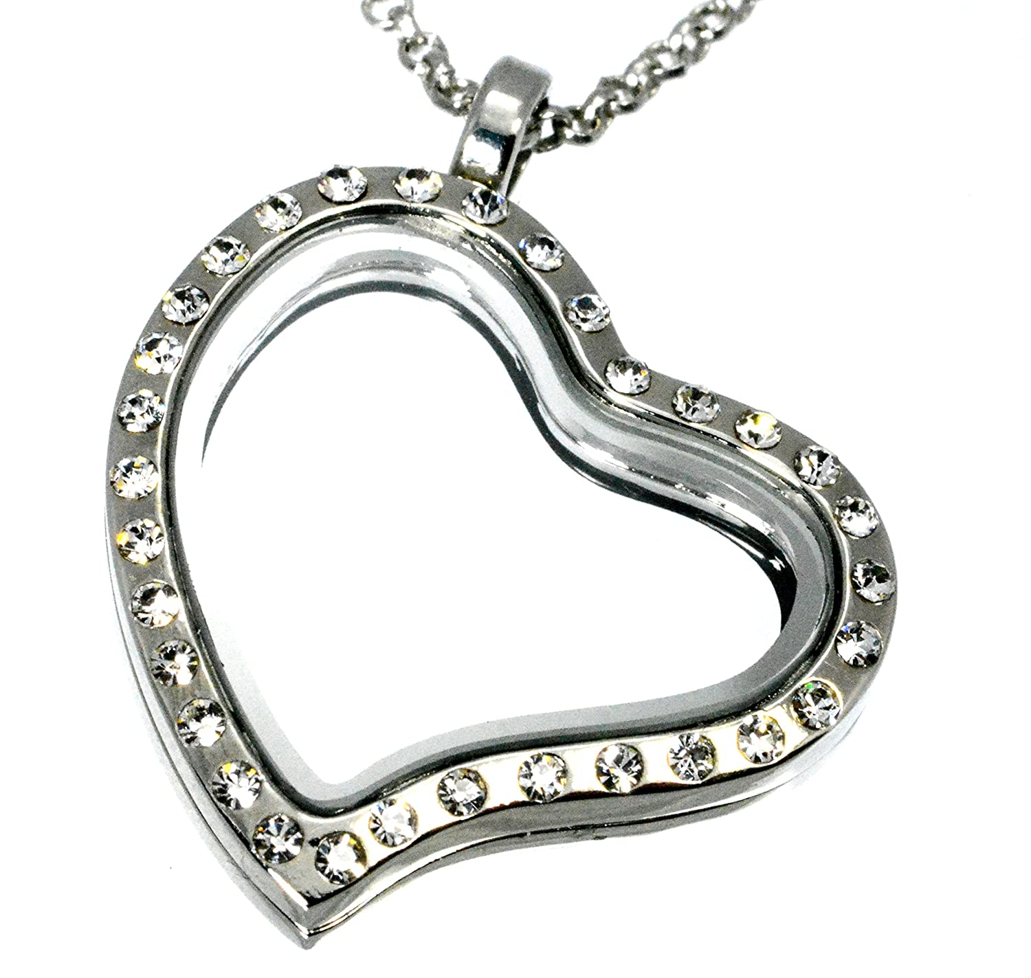 lockets com locket dp crystal jewelry amazon rim heart charm necklace close clear silvertone magnetic shaped floating