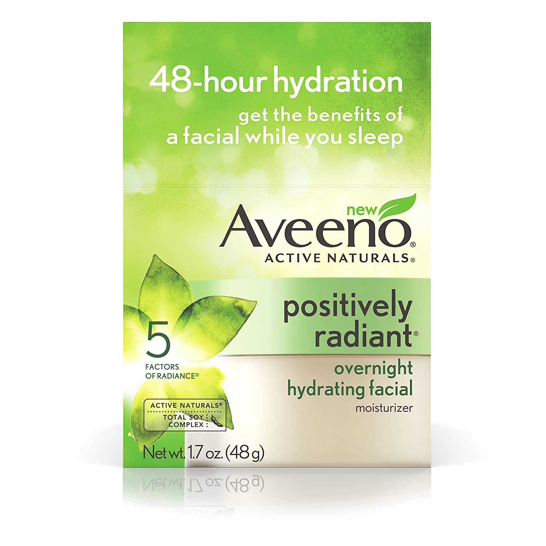 Aveeno Positively Radiant Overnight Facial Moisturizer 1.7 Ounce (50ml)