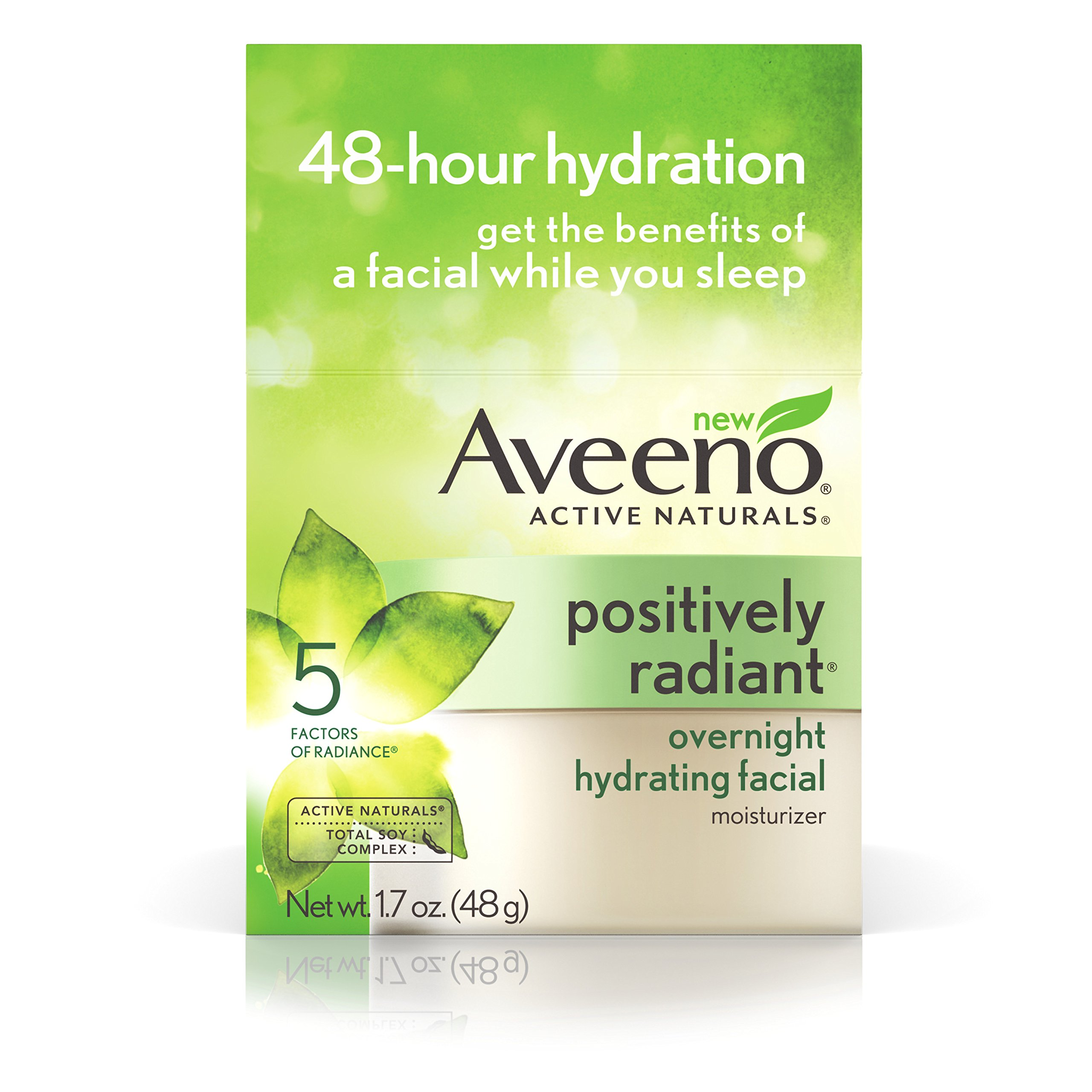 Aveeno Active Naturals Positively Radiant Overnight Hydrating Facial Moisturizer, 1.7 Oz