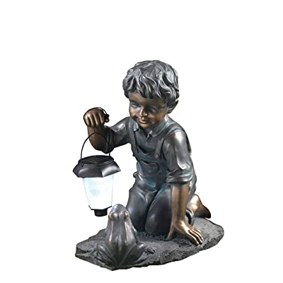 Winsome House Boy with Solar Light and Frog : Garden & Outdoor