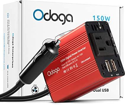 Red vansoet 150W Power Inverter DC 12V to 110V AC Car Inverter with 4.2A Dual USB Car Adapter