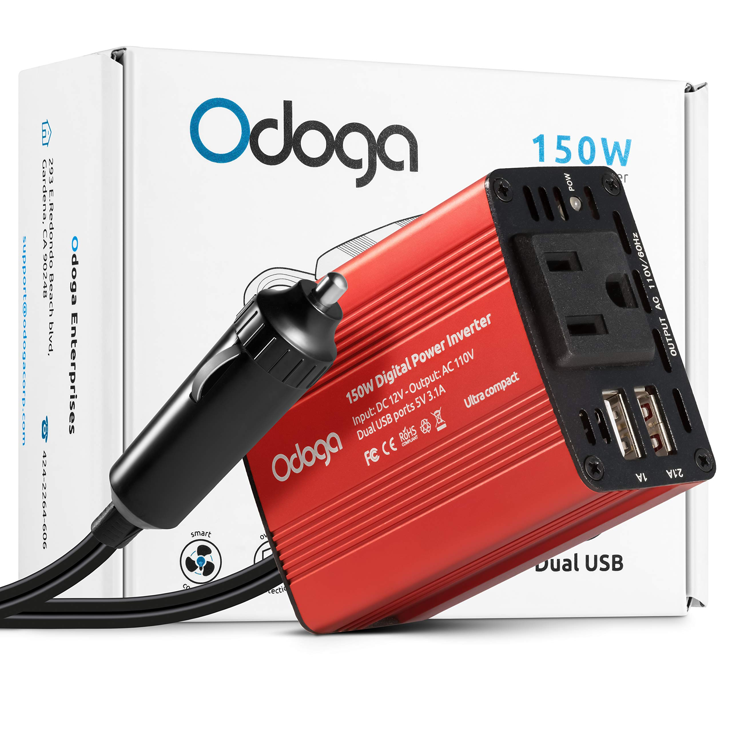 Odoga 150W Car Power Inverter DC 12V to 110V AC Car Adapter ~ Dual USB Ports ~ Charge Your Electronics On The Go by Odoga