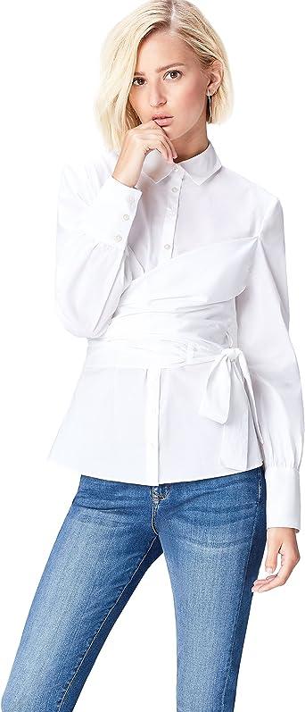 Marca Amazon - find. Camisa con Cuerpo Cruzado para Mujer