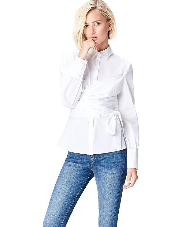 Camisa con cuerpo cruzado para mujer - Camisa elegante con cuerpo cruzado.