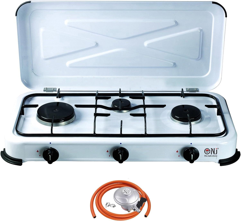 NJ-03 - Estufa de Gas portátil con 3 quemadores para Camping (4,25 kW, Tapa esmaltada y regulador de butano)
