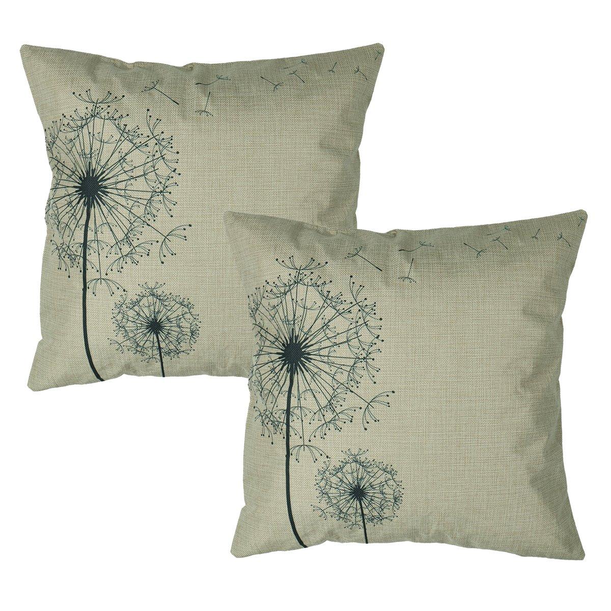 Luxbon Set 2Pcs Morden Stylish Simplicity Farmhouse Dandelion Floral Decor As You Wish Cotton Linen Throw Pillow Cases Sofa Couch Chair Decorative Cushion Covers 18''x18''/45x45cm Insert Not Included