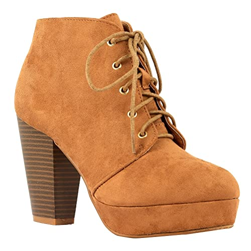 7333e1ef12cac Women's Ankle Boots Lace Up Block Chunky Heel Dress Booties Comfort Party  Shoes CM86