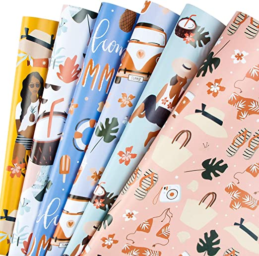 Party WRAPAHOLIC Gift Wrapping Paper Sheet 1 Roll Contains 6 Sheets 17.5 inch X 30 inch Per Sheet Holiday Baby Shower Animal Pints for Birthday