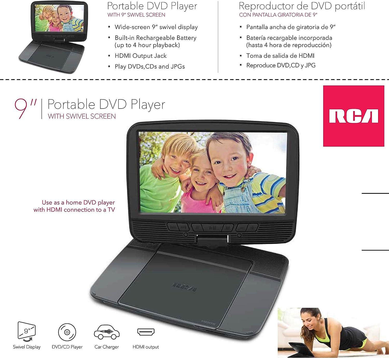 Reproductor de DVD portátil RCA de 9 pulgadas con pantalla giratoria   Salida HDMI: Amazon.es: Electrónica