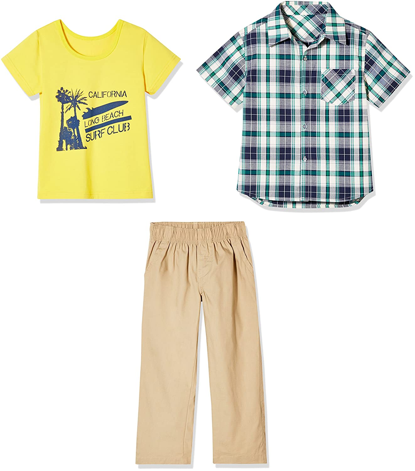 0414265e0e2b Sprout Star 3-Pcs Set Cotton Green Check Shirt, Yellow Graphic Tee and  Khaki Leisure Pants for Toddlers and Little Boy