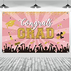 "Rose Gold Graduation Banner 2021 Congrats Grad for Graduation Party Decoration SuppliesLarge Graduation Fabric Backdrop for High School College 71 x 43"""