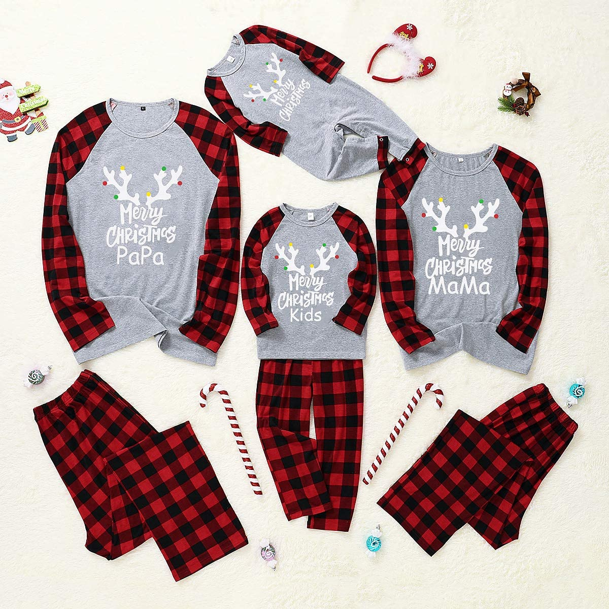 HelloCreate Christmas Pajamas Set Family Matching Clothes Long Sleeve Shirt Pant