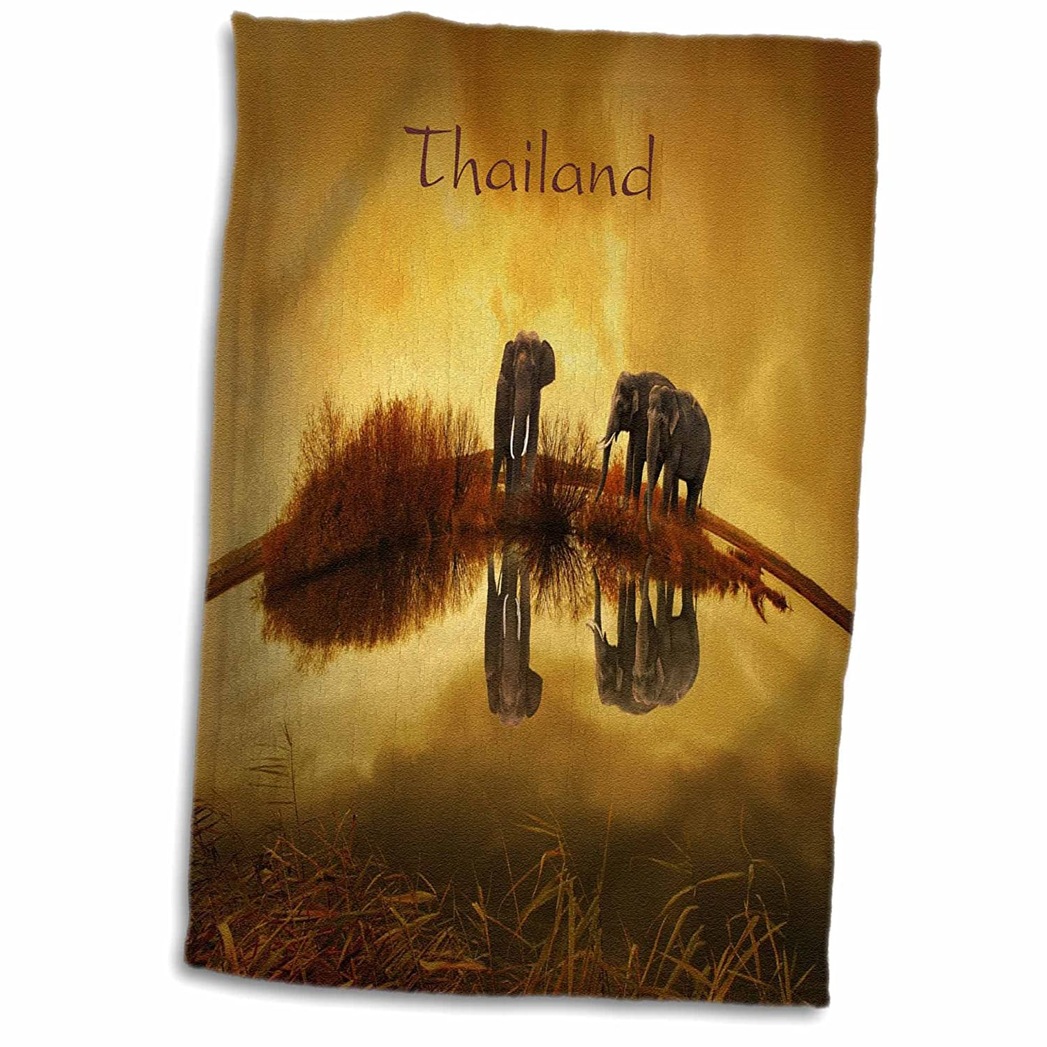 """3D Rose Image of Elephants in Thailand Reflected in Water Hand Towel, 15"""" x 22"""""""