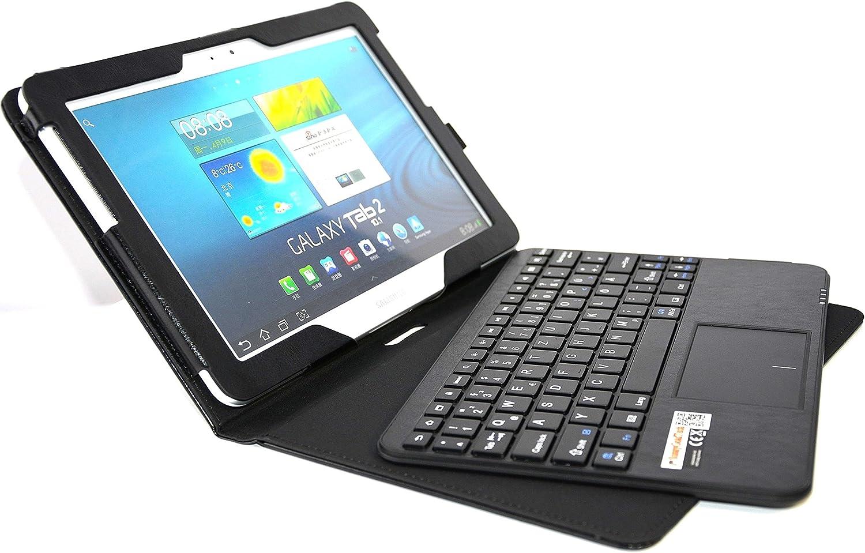 SonnyGoldTech - Funda con teclados y panel táctico para Galaxy Tab 10.1 | Teclado inglés inalámbrico | Color negro
