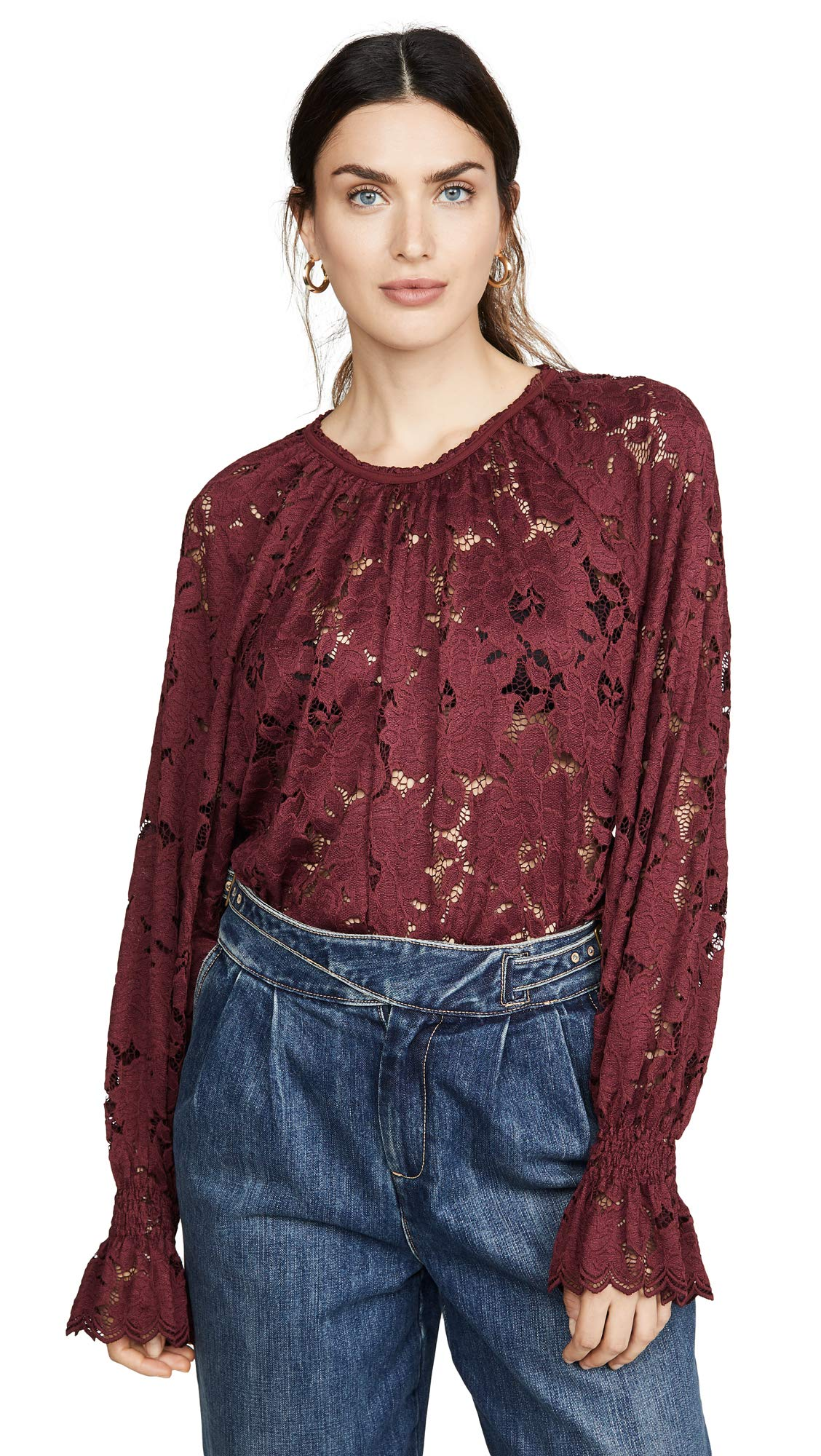 Free People Women's Olivia Lace Top, Wine, Red, Small by Free People