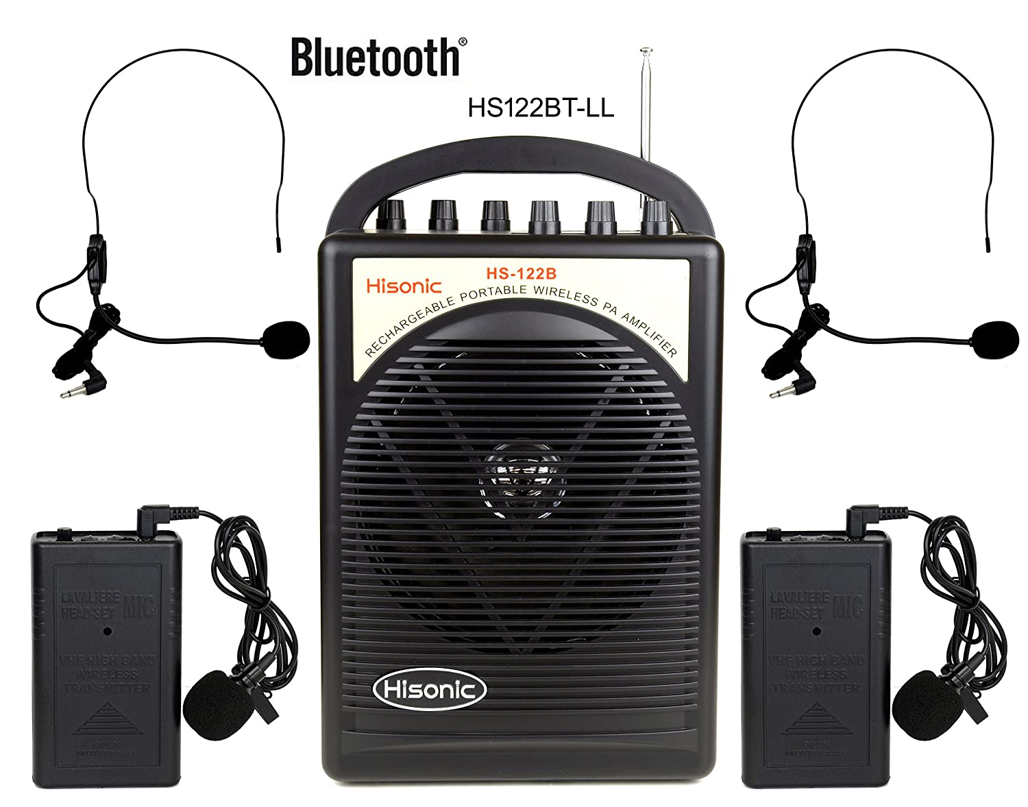 HISONIC HS122BT-LL Portable PA System with Dual Channel Wireless Microphones (Two handheland), Lithium Rechargeable Battery, Bluetooth Streaming Music From your Cell Phones,iPads, Android Pads and Computer, with Car Cable and Carry Bag, PA system, Black HS
