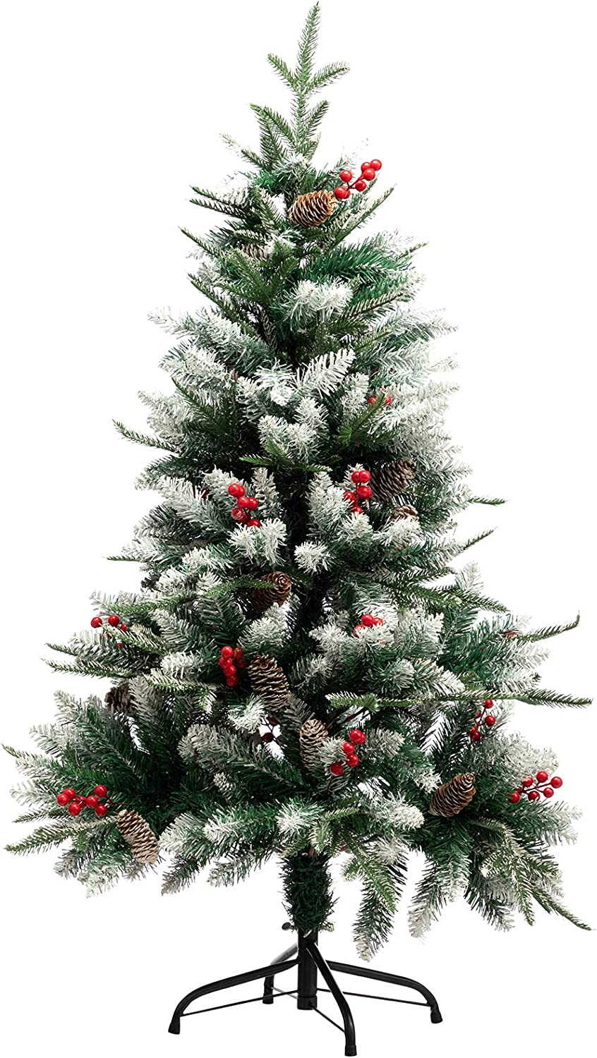 PARANTA 4FT Christmas Tree with Pine Cone and Red Berries Decoration Unlit, 346 Branch Tips, Artificial Christmas Tree with White Snow Tips