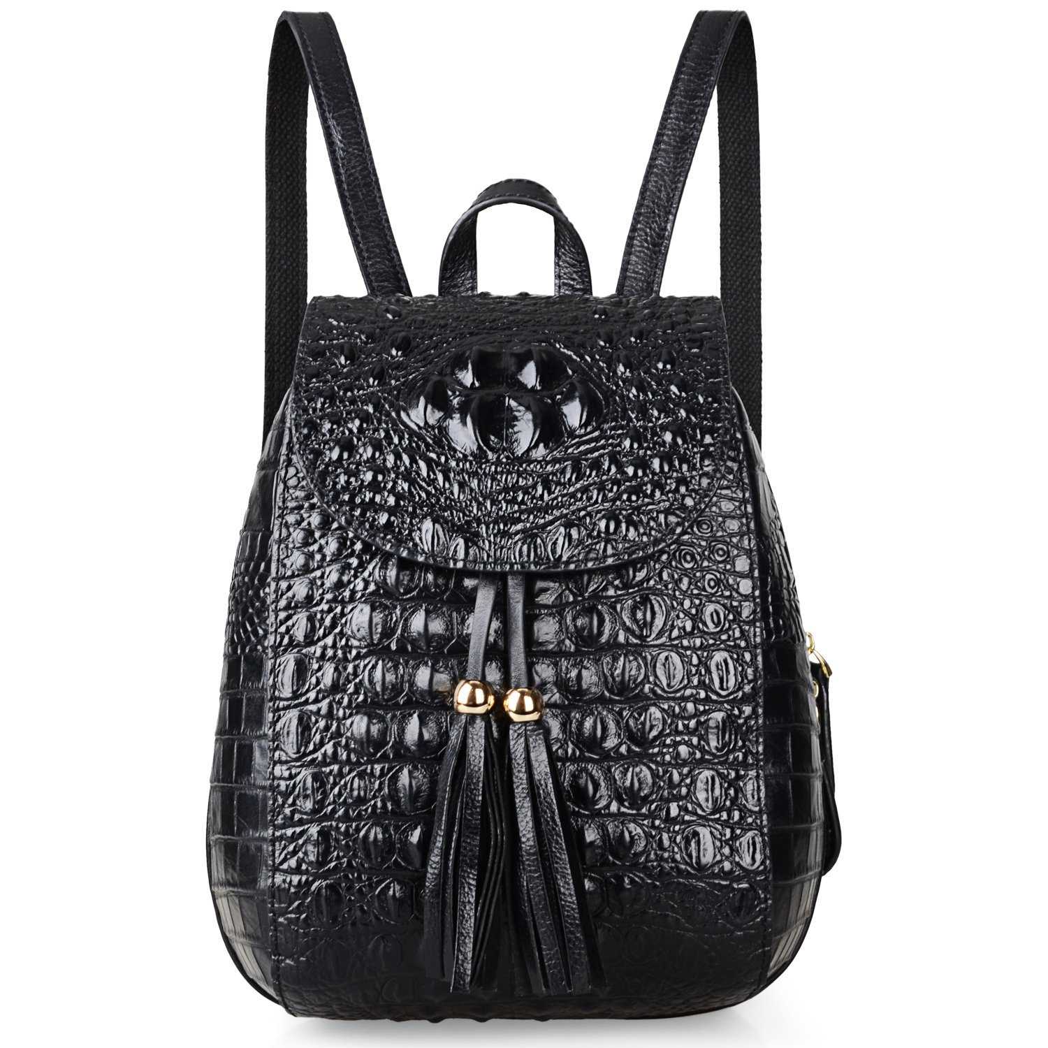 bae58be04b0 Amazon.com  PIJUSHI Leather Backpack For Women Crocodile Bags Fashion Casual  Backpack Purses (B66810 Black)  Shoes