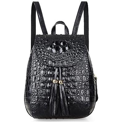 c178c9f6a Amazon.com: PIJUSHI Leather Backpack For Women Crocodile Bags Fashion  Casual Backpack Purses (B66810 Black): Shoes