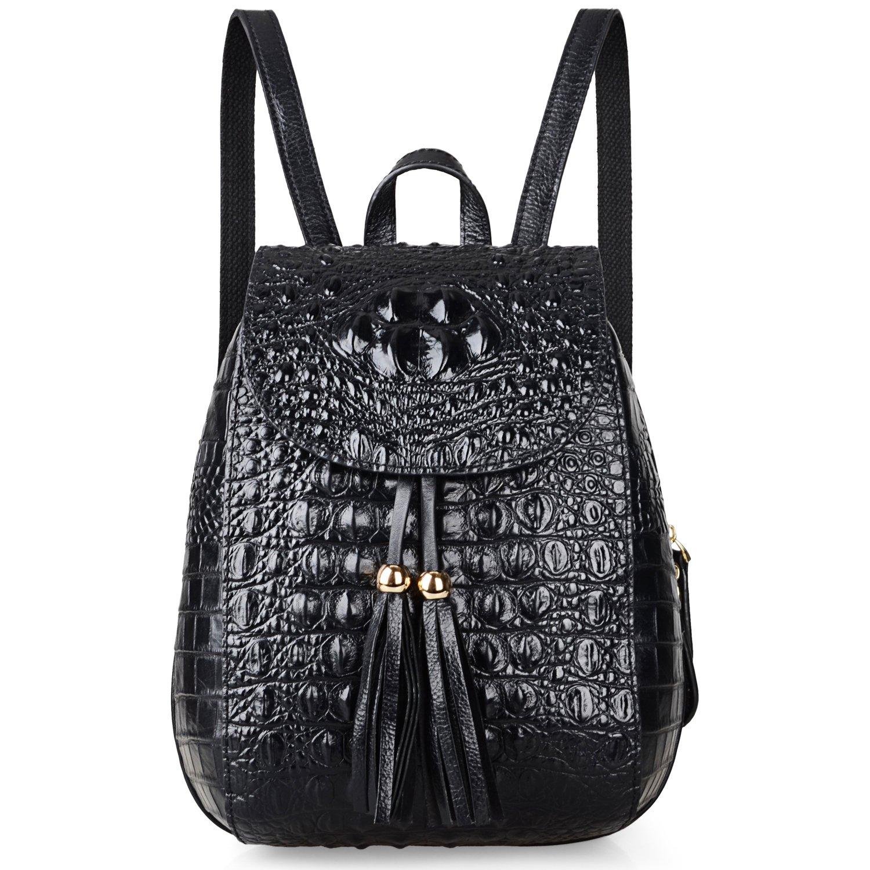 Pijushi Womens Mini Leather Backpack Crocodile Handbag Purses Holiday Gift (B66810 Black)