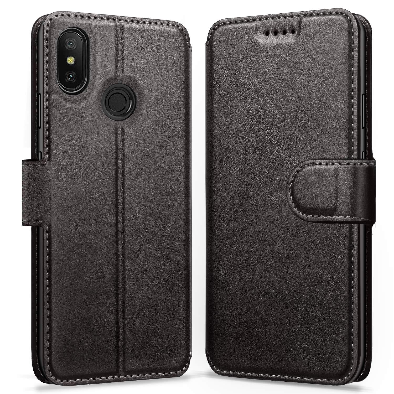 ykooe Funda Xiaomi Mi A2 Lite, Funda Libro de Cuero Magnética Carcasa para Xiaomi Mi A2 Lite/Xiaomi Redmi 6 Pro (Negro)