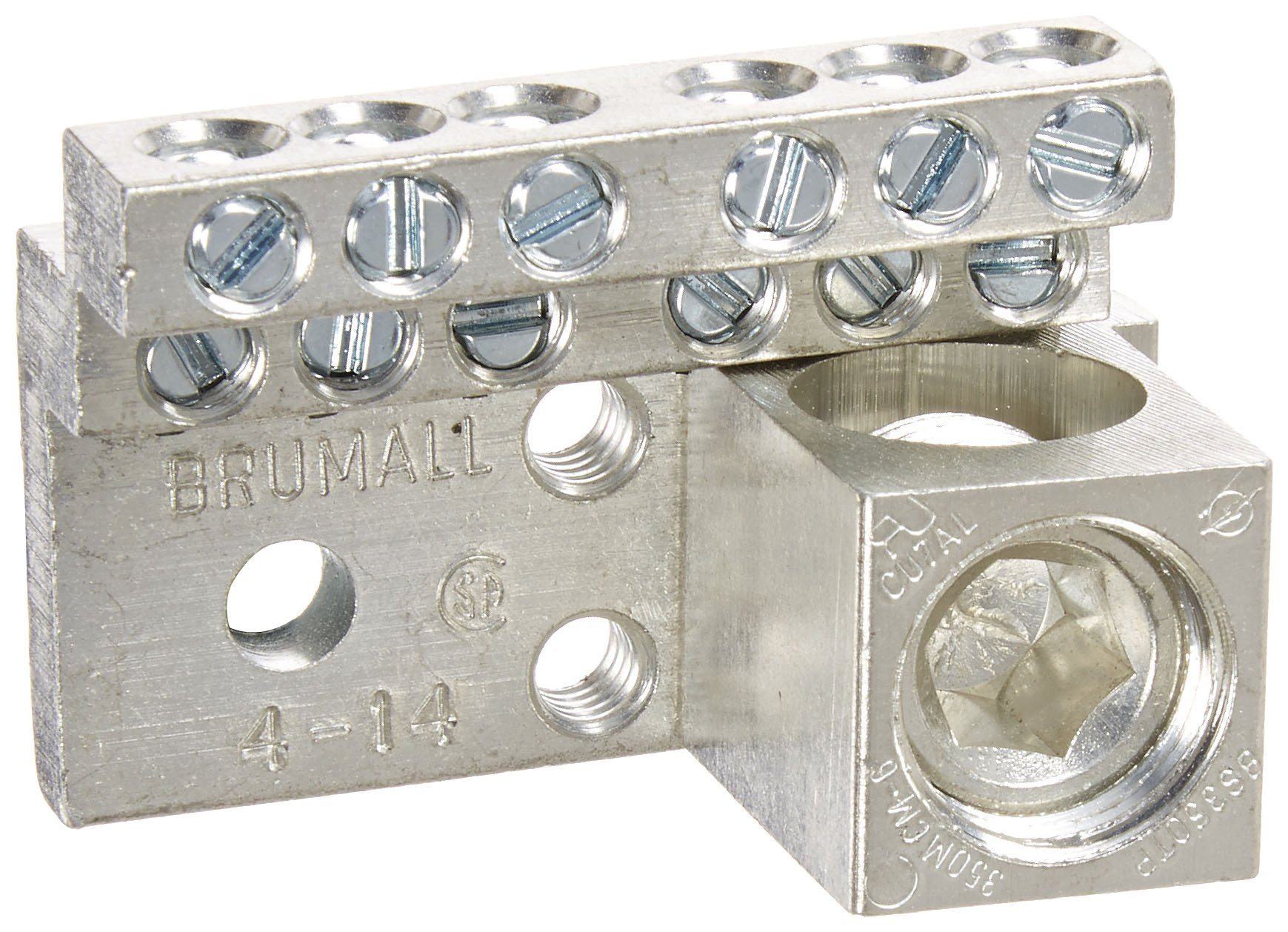 Neutral Bar and Neutral Assembly, 225A Neutral Bar, 4-14 AWG Wire Range, 600VAC Voltage, 350 MCM - 6 Lug Size, 1.500'' Width, 1.375'' Height, 2.193'' Length