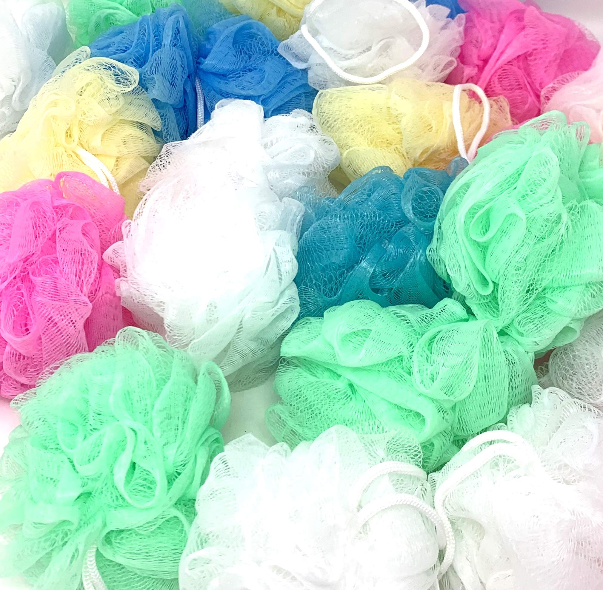 48 Bath or Shower Sponge Loofahs Pouf Mesh Assorted Colors WHOLESALE BULK LOT